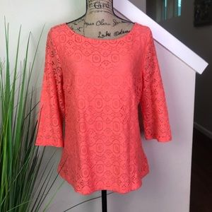 Banana republic blouse with lace overlay in coral